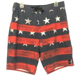 4th of July O'Neill Swim Trunks Patriotic Size 32